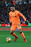 Alex Oxlade-Chamberlain of Liverpool in action. Premier league match, Stoke City v Liverpool at the Bet365 Stadium in Stoke on Trent, Staffs on Wednesday 29th November 2017.<br /> pic by Chris Stading, Andrew Orchard sports photography.