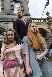 Actors promoting their theatre production on  High Street during Edinburgh Fringe Festival 2016 in Scotland , United Kingdom