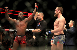 Leon Edwards (left) celebrates beating Gunnar Nelson in action during their Welterweight bout during UFC Fight Night 147 at The O2 Arena, London.