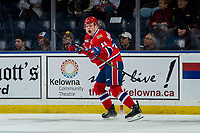 KELOWNA, BC - MARCH 13: Jaret Anderson-Dolan #11 of the Spokane Chiefs celebrates a goal against the Kelowna Rockets at Prospera Place on March 13, 2019 in Kelowna, Canada. (Photo by Marissa Baecker/Getty Images)
