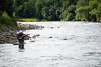Flyfishing in River Orkla, Rennebu, Norway<br /> Vegard Heggem-Model release form valid by photographer