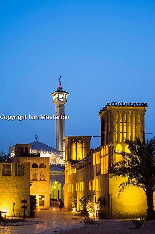 historic Bastakiya quarter at night in Dubai United Arab Emirates historic Bastakiya quarter at night in Dubai United Arab Emirates