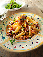 Pene pasta with a Bolognese sauce