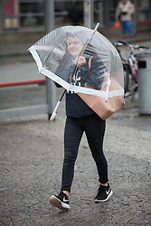 © Licensed to London News Pictures. 14/05/2015. Bristol, UK. A girl under her umbrella braving the wet weather in Bristol city centre today, Thursday 14th May 2015. Photo credit : Rob Arnold/LNP