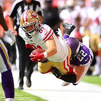 MINNEAPOLIS, MN - SEPTEMBER 09: Trent Taylor #81 of the San Francisco 49ers is tackled with the ball by Harrison Smith #22 of the Minnesota Vikings in the fourth quarter of the game at U.S. Bank Stadium on September 9, 2018 in Minneapolis, Minnesota. (Photo by Adam Bettcher/Getty Images) *** Local Caption *** Trent Taylor;Harrison Smith
