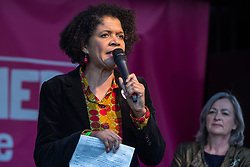 London, UK. 19 October, 2019. Chi Onwurah, Labour MP for Newcastle, addresses hundreds of thousands of pro-EU citizens at the Together for the Final Say People's Vote rally in Parliament Square as MPs meet in a 'super Saturday' Commons session, the first such sitting since the Falklands conflict, to vote, subject to any amendments, on the Brexit deal negotiated by Prime Minister Boris Johnson with the European Union.