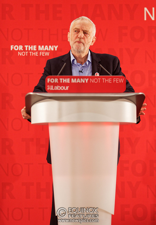 London, United Kingdom - 29 April 2017<br /> Labour Party leader Jeremy Corbyn giving a speech in the run up the the general election 2017 at The Wash Houses, London Metropolitan University, Whitechapel, London, England, UK.<br /> www.newspics.com/#!/contact<br /> (photo by: EQUINOXFEATURES.COM)<br /> Picture Data:<br /> Photographer: Equinox Features<br /> Copyright: ©2017 Equinox Licensing Ltd. +448700 780000<br /> Contact: Equinox Features<br /> Date Taken: 20170429<br /> Time Taken: 10500740<br /> www.newspics.com
