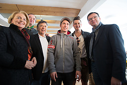 04.02.2013, Haus Ski Austria, Schladming, AUT, FIS Weltmeisterschaften Ski Alpin, Eroeffnung Haus Ski Austria, im Bild WKÖ Generalsekretärin Anna Maria Hochhauser, der Geschäftsführer der Steirischen Tourismus GmbH. Georg Bliem, ÖSV- Präsident Peter Schröcksnadel, Skirennläufer Marcel Hirscher, Sänger Andreas Gabalier und BM Norbert Darabos // Austrian chamber of Commerce Secretary Anna Maria Hochhauser, CEO of the Styrian Tourism GmbH Georg Bliem, Austrian Ski Federation President Peter Schroecksnadel, alpine skier Marcel Hirscher, Singer Andreas Gabalier and BM Norbert Darabos austrians Minister of Defense at the Opening of House Ski Austria during FIS Ski World Championships 2013 at the Ski Austria House, Schladming, Austria on 2013/02/04. EXPA Pictures © 2013, PhotoCredit: EXPA/ Johann Groder