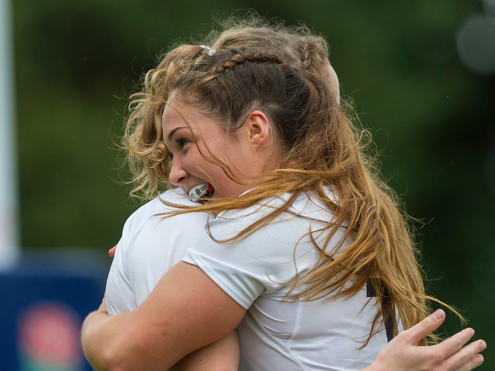 Sydney Gregson celebrates with Abby Dow after Abbie scored a try, U20 England Women v U20 Canada Women at Trent College, Derby Road, Long Eaton, England, on 22nd August 2016