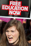 Mcc0027103 . Daily Telegraph...Students protesting in Westminster today against the proposed rise in Tuition  Fees...London 10 November 2010.....