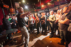 Tommy Blom at the seminar. IKMS 'In The Club' seminar with KMG Global Team Instructor and Expert Level 5, Tommy Blom, at the Buff Club in Glasgow's City Centre. Bringing Krav Maga training out with the confines of the gym into a real nightclub/bar.<br /> © Michael Schofield.
