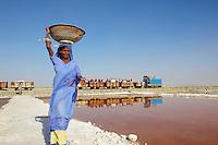 Inde, Rajasthan, mine de sel sur le lac salé de Sambhar. // India, Rajasthan, salt mine on the Sambhar salt lake.
