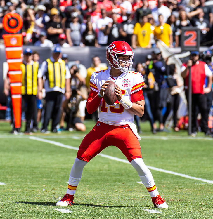 Sept 15 2019 Oakland CA, U.S.A  Chiefs quarterback Patrick Mahomes (15) looks for the deep pass during the NFL football game between Kansas City Chiefs and the Oakland Raiders 10-28 lost at RingCentral Coliseum Oakland Calif. Thurman James / CSM