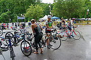 Jessica Nash (#59) and Jason Hare (#64) during the T1 swin to  bike transition in the 2018 Hague Endurance Festival Olympic Triathlon