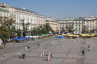 Elevated view of the Market Square Rynek Glowny in Krakow Poland