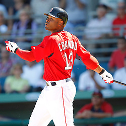 February 28, 2011; Fort Myers, FL, USA; Boston Red Sox left fielder Carl Crawford (13) during a spring training exhibition game against the Minnesota Twins at City of Palms Park.  Mandatory Credit: Derick E. Hingle-US PRESSWIRE