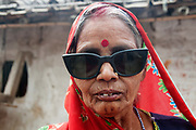 Bihar India March 2011. The Diara, sandbank islands in the Ganges. Cataract patient back at home.