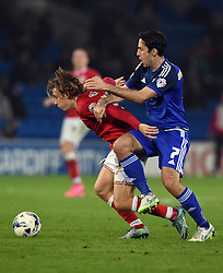 Peter Whittingham of Cardiff City battles for the ball with Luke Freeman of Bristol City  - Mandatory byline: Joe Meredith/JMP - 07966 386802 - 26/10/2015 - FOOTBALL - Cardiff City Stadium - Cardiff, Wales - Cardiff City v Bristol City - Sky Bet Championship