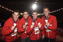 March 4, 2018 - Birmingham, Angleterre - BIRMINGHAM , UNITED KINGDOM  - MARCH 4 :  Podium ceremony of The Belgian Tornado Jonathan, Kevin and Dylan Borlee with Jonathan Saccor pictured during 4X400 M final at The Athletic WIC Birmingham 2018 on March 4, 2018 in Birmingham , United Kingdom ,04/03/201 (Credit Image: © Panoramic via ZUMA Press)