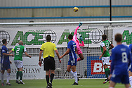 Dillon Barnes (33) of Hibernian makes a save during the Betfred Scottish League Cup match between Cove Rangers and Hibernian at Balmoral Stadium, Aberdeen, Scotland on 10 October 2020.