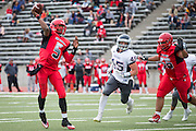 Community College of San Francisco quarterback Lavell McCullers (5) throws a pass against College of Siskiyous at Community College of San Francisco in San Francisco, Calif., on September 10, 2016. (Stan Olszewski/Special to S.F. Examiner)