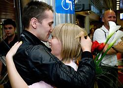 Saso and his girlfriend Nina Rizvic at reception of third placed Saso Bertoncelj at European Championships in artistic gymnastics in Birmingham 2010, on April 26, 2010, at Airport Joze Pucnik, Brnik, Slovenia. (Photo by Vid Ponikvar / Sportida)