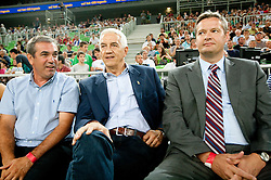 Roman Volcic, president of KZS, Nar Zanolin of FIBA Europe and Olafur Rafnsson, FIBA Europe president during friendly basketball match between National teams of Slovenia and Montenegro of Adecco Ex-Yu Cup 2011 as part of exhibition games before European Championship Lithuania 2011, on August 7, 2011, in Arena Stozice, Ljubljana, Slovenia. Slovenia defeated Crna Gora 86-79. (Photo by Vid Ponikvar / Sportida)