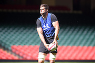 Luke Charteris of Wales in action during the Wales rugby captains run training session at the Millennium Stadium in Cardiff ,South Wales on Friday 4th Sept  2015. The team are preparing for their next RWC warm up match against Italy tomorrow.  pic by Andrew Orchard, Andrew Orchard sports photography.