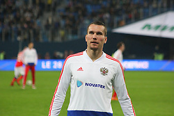 March 27, 2018 - Saint-Petersburg, Russia - Russian Federation. Saint-Petersburg. Arena Saint-Petersburg. Zenit-Arena. Football. Russia - France, Friendly match 1: 3. The football World Cup. The player of national team of Russia on football..Anton Zabolotny; (Credit Image: © Russian Look via ZUMA Wire)