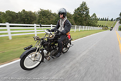 Hans Coertse of South Africa riding his 976c twin cylinder 1913 Matchless Model 5B Motorcycle during the Motorcycle Cannonball Race of the Century. Stage-6 from Cape Girardeau, MO to Springfield, MO. USA. Thursday September 15, 2016. Photography ©2016 Michael Lichter.