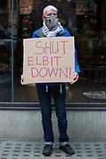 An activist from Palestine Action protests outside the UK headquarters of Elbit Systems, an Israel-based company developing technologies used for military applications including drones, precision guidance, surveillance and intruder-detection systems, on 28th May 2021 in London, United Kingdom. Pro-Palestinian activists had organised the protest against Elbits presence in the UK and against British arms sales to and support for Israel.