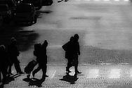 France. Paris. Car traffic and pedestrians on rue Royale / rue Royale