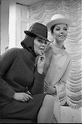 06/02/1968.02/06/1968.06 February 1968. Adrienne Ring, Ballyjamesduff, (left) wearing an all-purpose culotteoutfit of McNutt handwoven Donelgal Tweed in green twill, with matching balaclave and trilby hatand Pat Murphy 6 Vernon Grove, Rathgar, wearing a town dress and coat in Molloy's of Adara Donegal handwoven tweed, primrose colour, worn with pique bolivian styled hat, both from the Nelli Mulcahy Spring '68 Courture Collection, which will be shown at the W.I.Z.O. 'Preview to Spring' fashion show at the Gresham Hotel, Dublin on Monday next, 12th Feb. 1968.