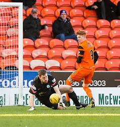 Morton's keeper Derek Gaston saves from Dundee United's Simon Murray. Dundee United 1 v 1 Morton, Scottish Championship game played 25/2/2017 at Tannadice Park.