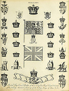 British Flags Crests and Badges Heraldry is a discipline relating to the design, display and study of armorial bearings (known as armory), as well as related disciplines, such as vexillology, together with the study of ceremony, rank and pedigree. Armory, the best-known branch of heraldry, concerns the design and transmission of the heraldic achievement. The achievement, or armorial bearings usually includes a coat of arms on a shield, helmet and crest, together with any accompanying devices, such as supporters, badges, heraldic banners and mottoes. Copperplate engraving From the Encyclopaedia Londinensis or, Universal dictionary of arts, sciences, and literature; Volume IX;  Edited by Wilkes, John. Published in London in 1811