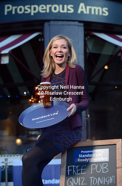 JP License<br /> Prosperous Arms PuQuiz with star guest Countdown TV presenter Rachel Riley.<br /> <br /> Think you know your stuff? Then join Standard Life and Countdown's Rachel Riley as they host a prosperous pub quiz with a difference on Thursday 29th January .<br />  <br /> For one night only, Hectors will be transformed and regulars will be welcomed to the Prosperous Arms for a pint of Old Prosperous. Along with Rachel Riley as the host, the evening will include a pub quiz with six rounds of questions and some great prizes, plus a chance to find out more about the upcoming pension changes in April and where to go for support and information.<br />  <br /> Prizes include shopping vouchers worth £100, a signed Andy Murray t-shirt and champagne.<br />  <br /> <br />  Neil Hanna Photography<br /> www.neilhannaphotography.co.uk<br /> 07702 246823