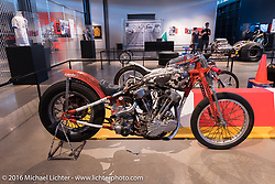Heart Breaker Knucklehead drag racer that was raced by Bill Pearson around 1955, in the - Drag Racing: America's Fast Time - exhibition at the Harley-Davidson Museum during the Milwaukee Rally. Milwaukee, WI, USA. Saturday, September 3, 2016. Photography ©2016 Michael Lichter.