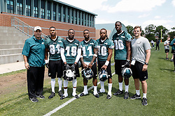 A Group Photo of the Wide Receivers who attended the Philadelphia Eagles NFL football rookie camp at the teams practice facility on Saturday, May 17, 2014. (Photo by Brian Garfinkel)