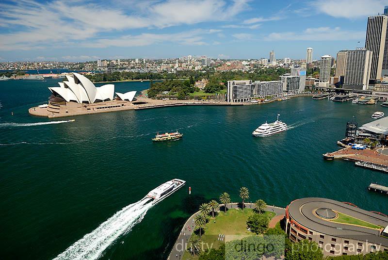 Aerial view of Sydney Harbour Bridge and Circular Quay.