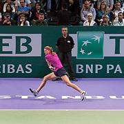 Petra Kvitova of Czech Republic hits a return to Victoria Azarenka of Belarus during their women's WTA tennis championships final match in Istanbul, October 30, 2011. Photo by TURKPIX