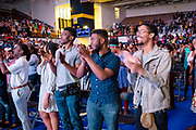 """North Carolina Agricultural and Technical State University students, alumni and guests clap after master communicator T.D. Jakes discussed """"Living Your Best Life"""" at  Chancellor's Speaker Series on Thursday, April 11, 2019.<br /> <br /> (Chris English/Tigermoth Creative)"""
