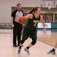 5th year guard Katie Polischuk (3) of the Regina Cougars in action during the home game on December  3 at Centre for Kinesiology, Health and Sport. Credit: Matt Johnson/Arthur Images