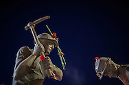 Statues of miners stand in the middle of Soma, the town affected by a fatal mining incident. An explosion caused by an electrical fault in Somas' coal mine resulted in at least 282 deaths. Rescue efforts continue into the third evening.
