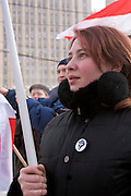 Moscow, Russia, 18/02/2006..Demonstration against against Belarussian President Alexander Lukasheno outside the Russian Foreign Ministry.
