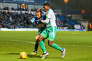 Plymouth Argyle forward Freddie Ladapo (19) battles with Wycombe Wanderers midfielder Curtis Thompson(18) during the EFL Sky Bet League 1 match between Wycombe Wanderers and Plymouth Argyle at Adams Park, High Wycombe, England on 26 January 2019.