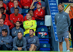 BLACKBURN, ENGLAND - Thursday, July 19, 2018: Liverpool's goalkeeper Loris Karius is all smiles on the bench having played the first part of the game during a preseason friendly match between Blackburn Rovers FC and Liverpool FC at Ewood Park. (Pic by David Rawcliffe/Propaganda)