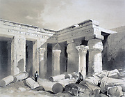 Temple at Medinet Abou -Thebes', 1845. Lithograph after Henry Pilleau (1813-1899) English artist.  Egypt Luxor Archaeology Architecture Religion Mythology