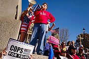 """07 NOVEMBER 2020 - DES MOINES, IOWA: JON JACOBSON, an Iowa Republican legislator, repeats some of President Donald Trump's claims about election irregularities during a """"Stop the Steal"""" rally in support of President Trump at the Iowa State Capitol. There were rival election rallies at the State Capitol in Des Moines Saturday. About 1,000 supporters of President Donald Trump gathered on the steps of the State Capitol and called for an end to vote counting. About 300 supporters of President Elect Joe Biden gathered in People's Plaza, on the south lawn of the Capitol, and called for the vote count to continue until every vote was counted.     PHOTO BY JACK KURTZ"""