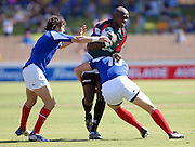 #10 Patrick Bosque of France tackles Dennis Mwanja,Kenya during the IRB Rugby Sevens tournament held at Adelaide Oval,Adelaide, South Australia,Saturday, April 5, 2008.<br /> Photo;Michael Oakes/SMP<br /> Conditions of Use: This image is intended for editorial use only (EG: news or commentary, print or electronic).  Any commercial or promotional use requires additional clearance.  Please contact for details.