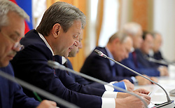 October 13, 2017 - Voronezh, Russia - October 13, 2017. - Russia, Voronezh. - Russian Minister of Agriculture Aleksander Tkachyov at a meeting on agricultural development. (Credit Image: © Russian Look via ZUMA Wire)